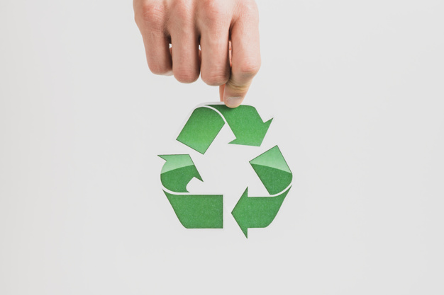 hand holding recycle symbol white background 23 2147817250